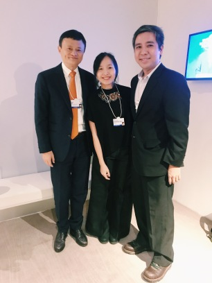with Jack Ma and my husband (check out his Davos shoes)